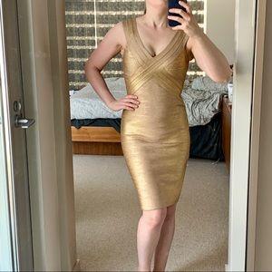Herve Leger Dresses - Herve Leger Gold Metallic Foil dress
